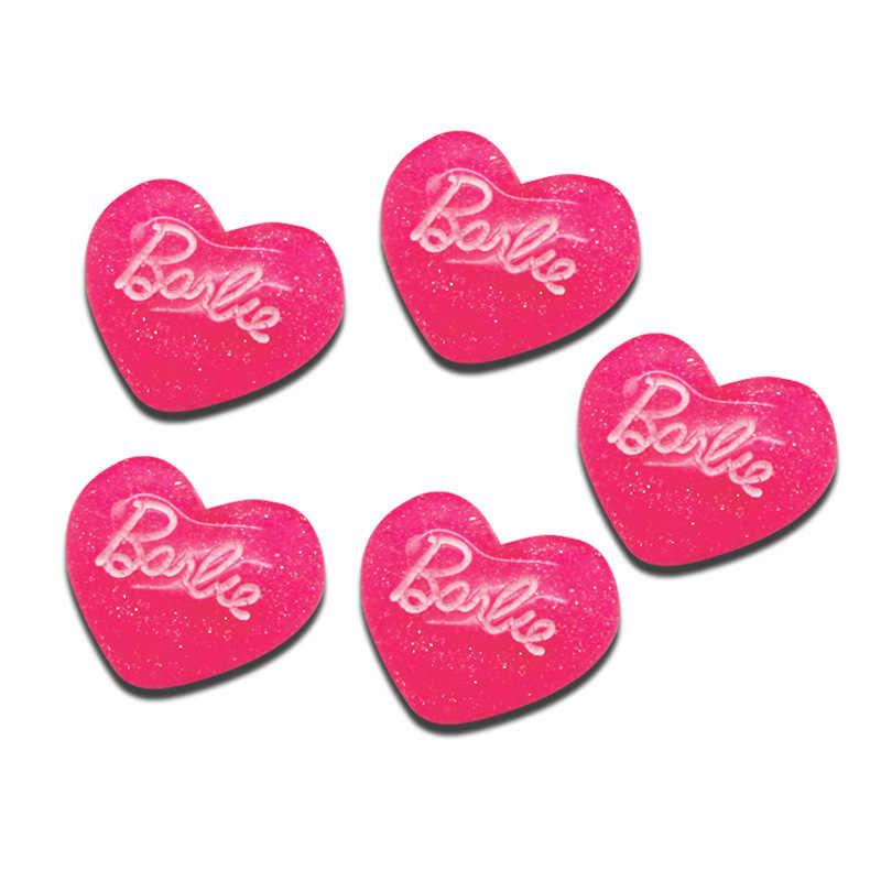 LF 30Pcs Resin Heart Letter Decoration Crafts Flatback Cabochon Embellishments For Scrapbooking Kawaii Cute Diy Accessories 24mm