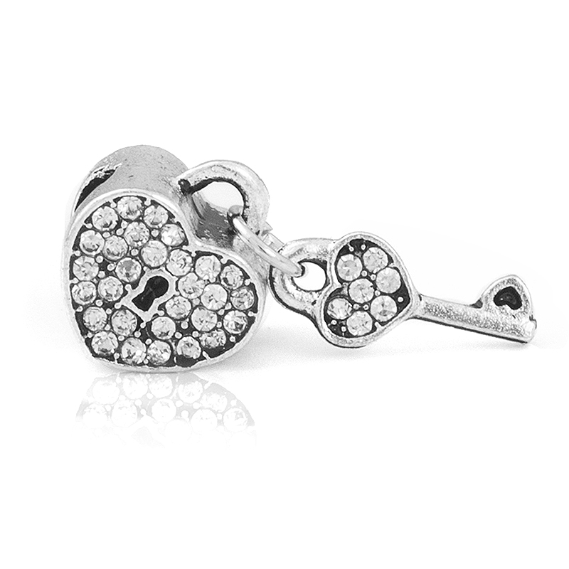 Envío gratis 1PC Crystal Heart Lock con Key Love Beads Charms encaja estilo europeo Pandora Charm Bracelets y collares