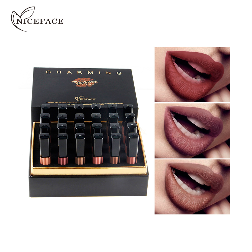 Niceface Color 24 Shades Matte Nude Liquid Lipstick Lip Stick Long Lasting Waterproof Pigment Matte Makeup Lip Gloss Set Gift