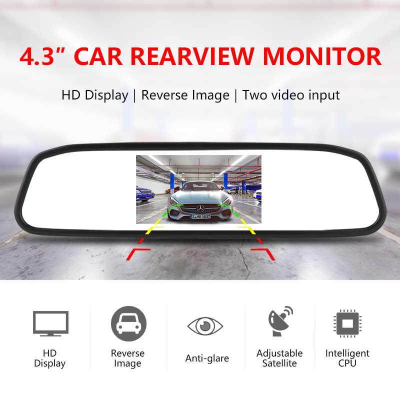 Vtopek HD voiture affichage 4.3 pouces moniteur de voiture pour caméra de recul image aide au stationnement 2 entrée vidéo miroir de stationnement