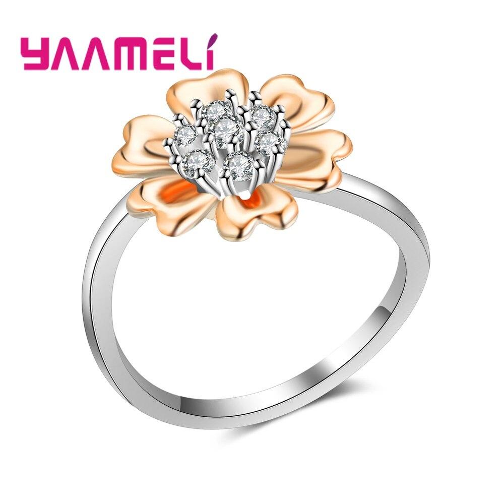YAAMELI White Stone Rose Gold Rings Women Luxury Wedding Engagement Gift Flower Shape CZ Finger Rings Engagement ring