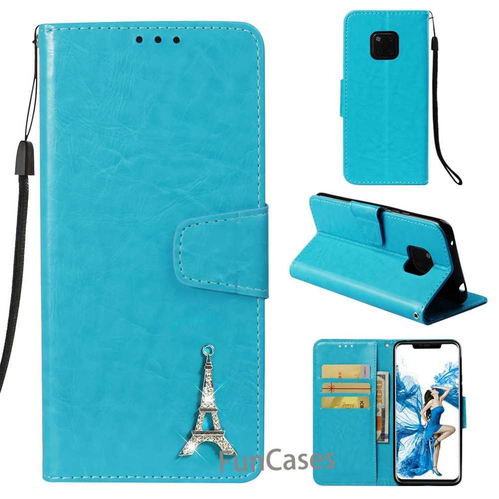 Para Huawei Mate 20 Pro funda Cartera de teléfono Flip cuero moda PU cartera con tarjeta de bolsillo teléfono cubierta Torre Eiffel amigo 20 Pro