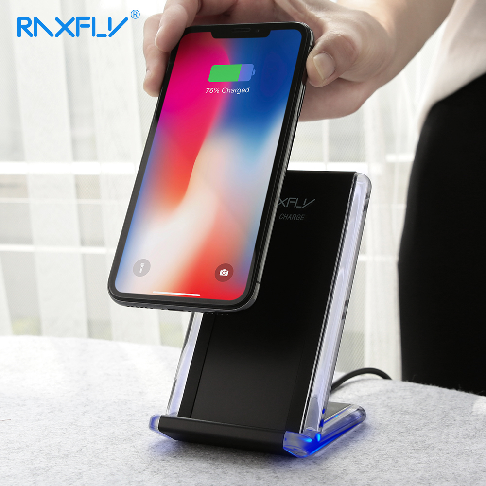 RAXFLY QI Wireless Charger Phone Charger For Samsung S9 S8 Plus Wireless Charging For iPhone X 8 Plus Fast Wireless Charger Pad