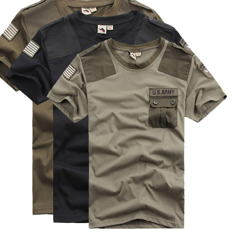 Idopy Summer Men`s US Army Patchwork Pocket T-Shirts Quick Dry Combat Military Style Tshirts Tees For Cool Men