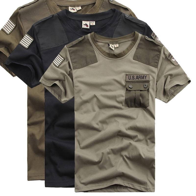Idopy Summer Men`s US Army Patchwork Pocket T-Shirt