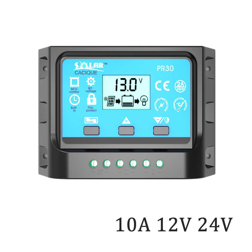 ЖК-дисплей Подсветка 10A 12/24 В Панели солнечные Зарядное устройство Батарея PR30 Батарея контроллер с двумя USB 5 В Зарядное устройство
