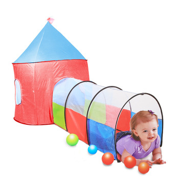 """89"""" Large Play Tent with Tunnel Toy Playhouse Indoor & Outdoor Garden Foldable Pop Up Pink Play Tent for Kids Party Favor(227)"""