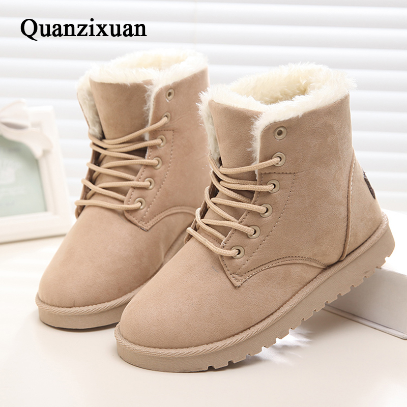 QUANZIXUAN New Women Boots Warm Fur Snow Boots Women Shoes Winter Flock Women Ankle Boots Lace-Up Women Flat Shoes Black women wellbeing