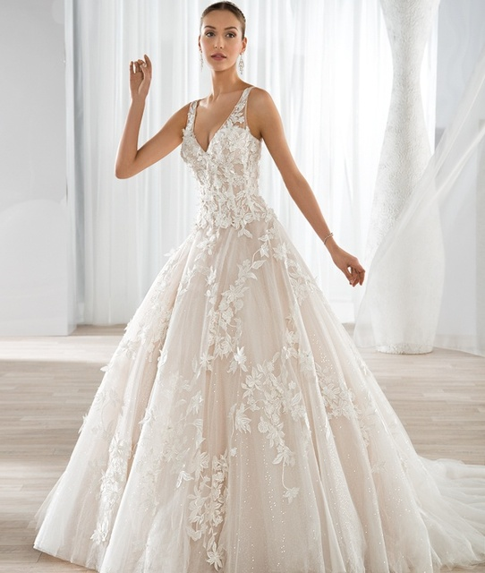 New Design Ball Gown Lace AppliquesWedding Dresses 2016 V