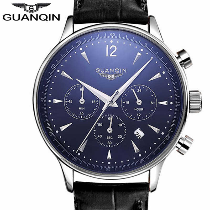 Mens Watch GUANQIN Men Quartz Watch Sport Military Waterproof Watches Chronograph Leather Wristwatches Relogio Masculino цена 2017