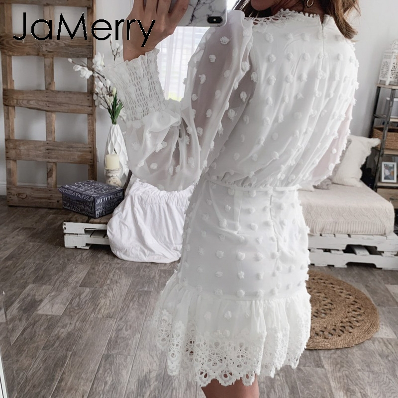 JaMerry Vintage sexy white lace short dress women Long puff sleeve dresses dots female Luxury slim party mini dress vestidos 2