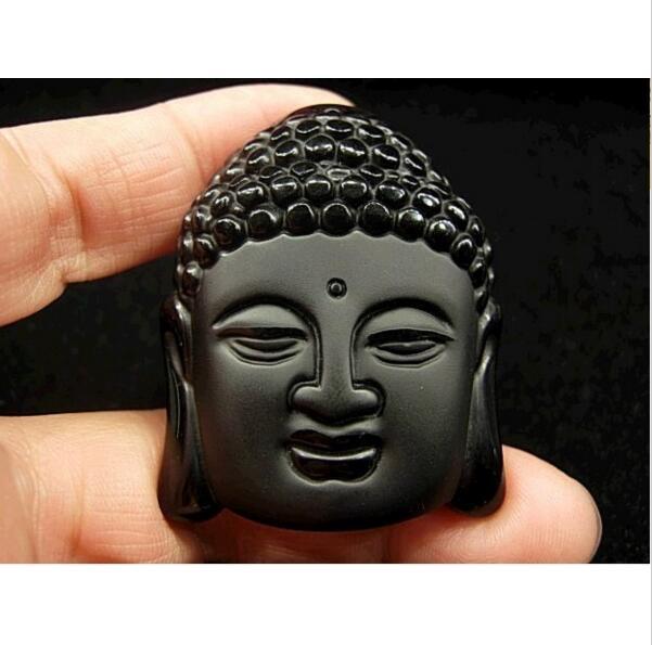 Hot Sale Natural Crystal Stone Obsidian Buddha Head Pendant Mean Male Fashion Pendant Wholesale Price