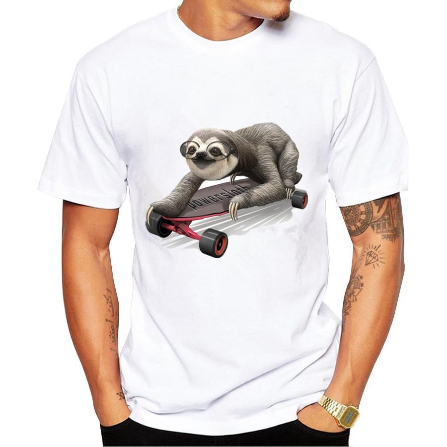 Plus Size New 2017 font b Summer b font sloth In the skateboard T Shirt Men