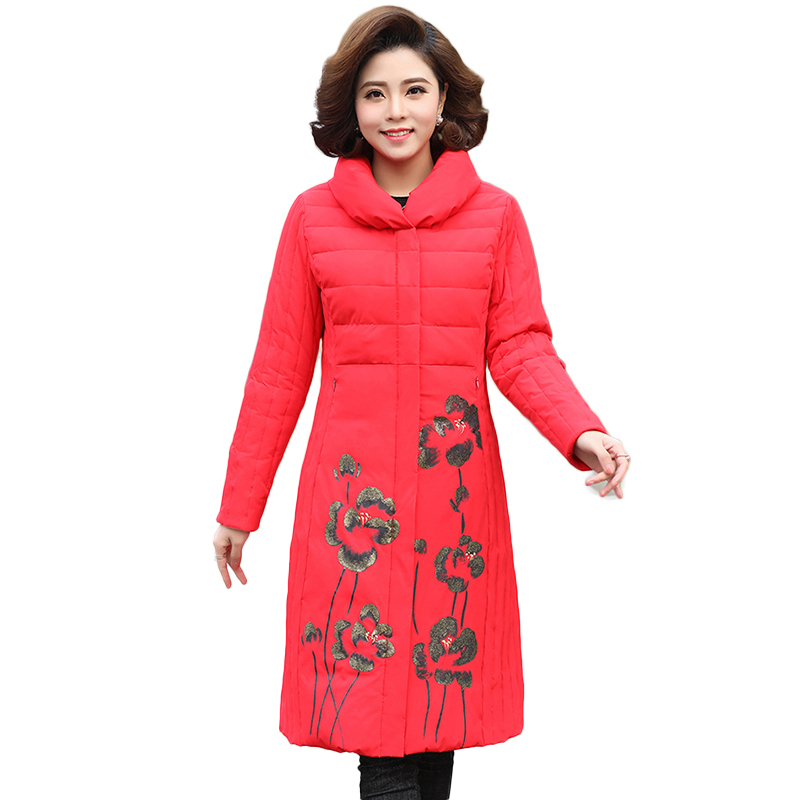 Winter New Women   Down     Coats   Female White Duck   Down   Jacket Ladies Elegant Print Stand Collar Warm Outwear Long Overcoat Plus Size