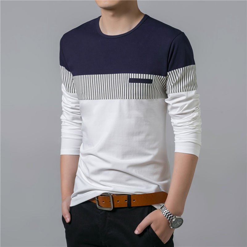 COODRONY T-Shirt Men 17 Spring Summer New Long Sleeve O-Neck T Shirt Men Brand Clothing Fashion Patchwork Cotton Tee Tops 7622 6