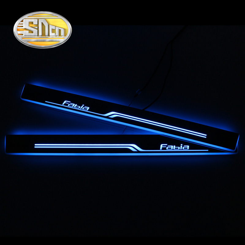 SNCN Waterproof Acrylic Moving LED Welcome Pedal Scuff Plate Pedal Door Sill Pathway Light For Skoda