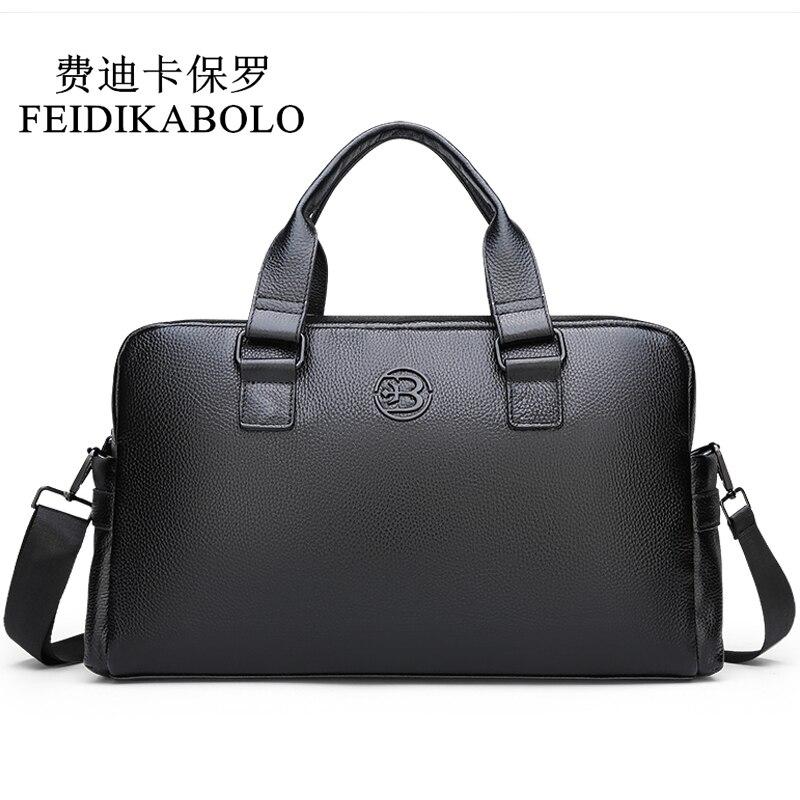 FEIDIKABOLO Cow Genuine Leather Men's Travel Bag Large Capacity Weekend duffel bag Male Leather Business Travel handbag Luggage