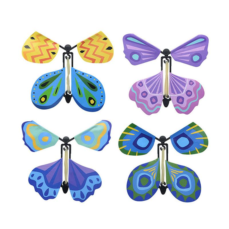 New 1 Pack Flying Butterefly Classic Funny Wind Up Toys Assorted Clockwork For Children Party Gifts Kids Birthday Random Color