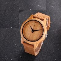 Casual Natur Holz Bambus Lederband armband Armbanduhr Männer Frauen Kühlen Analog Armband Geschenk uhren de pulsera