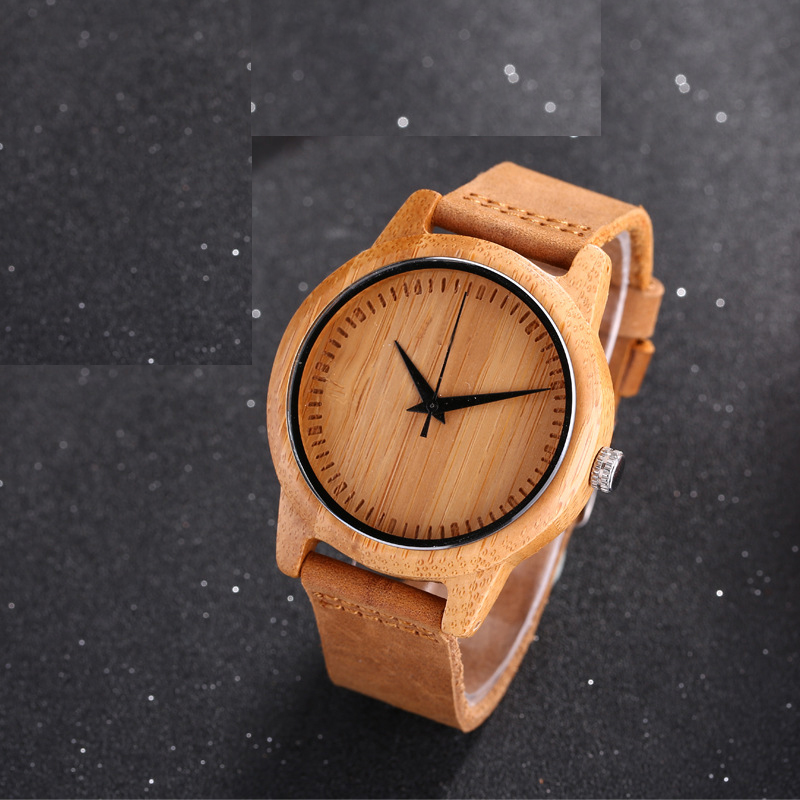 Casual Nature Wood Bamboo Genuine Leather Band Strap Wrist Watch Men Women Cool Analog Bracelet Gift relojes de pulsera yisuya fashion nature wood wrist watch men analog sport bamboo black genuine leather band strap for men women gift relogio clock page 5