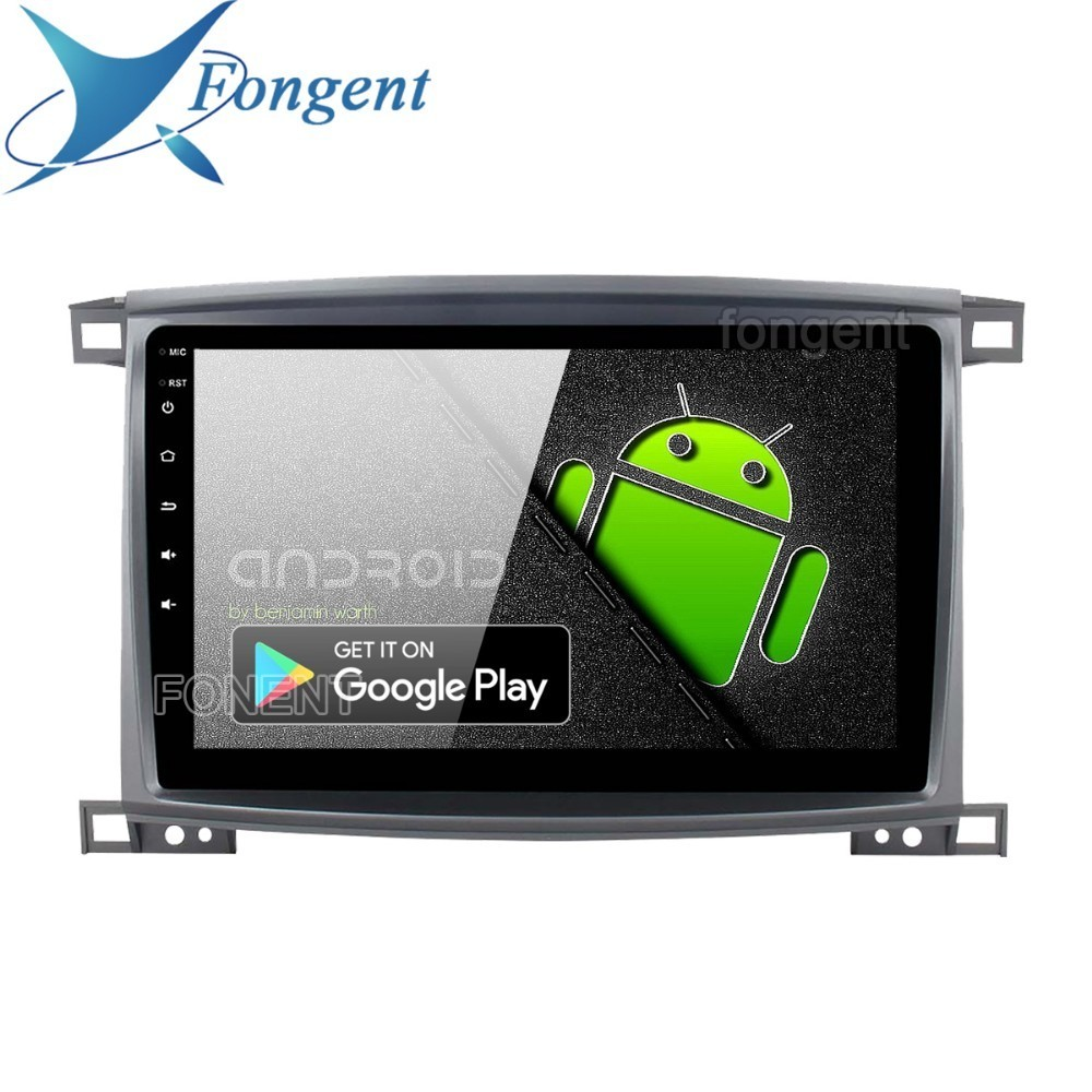 Fongent Radio 1 Din Android 9.0 voiture stéréo pour Toyota LC 100 Land Cruiser 100 2003 GPS Navigation Bluetooth 64 GB ROM