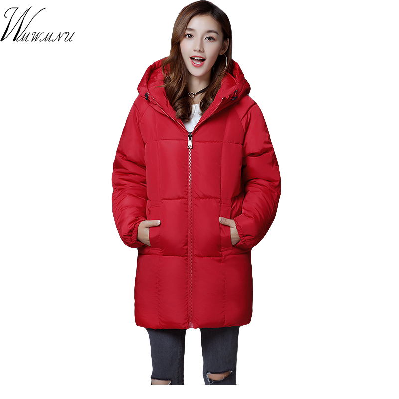 Wmwmnu 2017 new loose warm winter coat women and plus size Warm down Cotton long Coat Pure Color Hooded Female   Parkas
