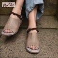 2016 nova casual couro genuíno das mulheres sandálias de dedo aberto breve malha plana roma mulheres sapatos