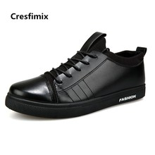 Cresfimix men casual all black pu leather lace up shoes male fashion plus size spring autumn shoes man's cool white shoes b2728