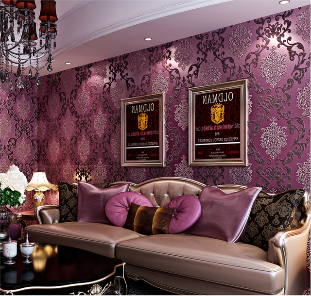 3d Purple Damask Wallpaper Rolls 3D Papel Parede Wall Paper Roll For Sofa Backgroud Living
