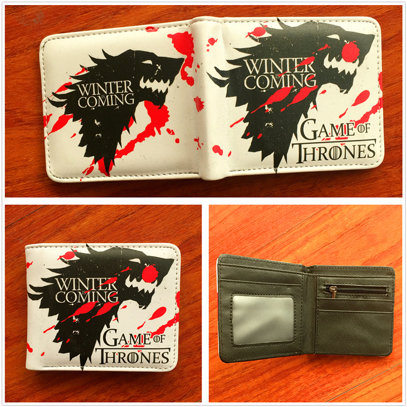 Women Short Wallet Female Purse Anime Game of Thrones Wolf Cartoon Purses New Arrival Bi-Fold Wallets W697 2016 new arriving pu leather short wallet the price is right and grand theft auto new fashion anime cartoon purse cool billfold