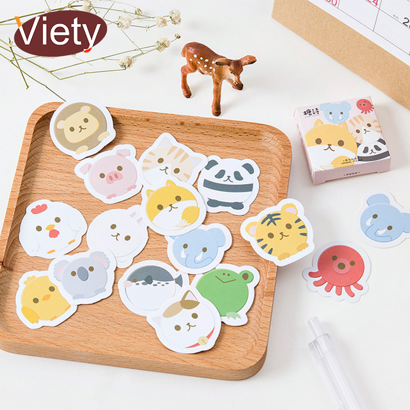 45 Pcs/lot Round Shape Cute Animal Mini Paper Sticker Decoration DIY Album Diary Scrapbooking Label Sticker Kawaii Stationery