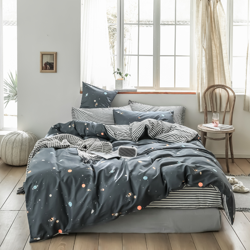 Classic bedding set grey blue stripe Starry sky bed linen 4pcs duvet cover set bed sheet AB side duvet cover boys/kid bedclothesClassic bedding set grey blue stripe Starry sky bed linen 4pcs duvet cover set bed sheet AB side duvet cover boys/kid bedclothes