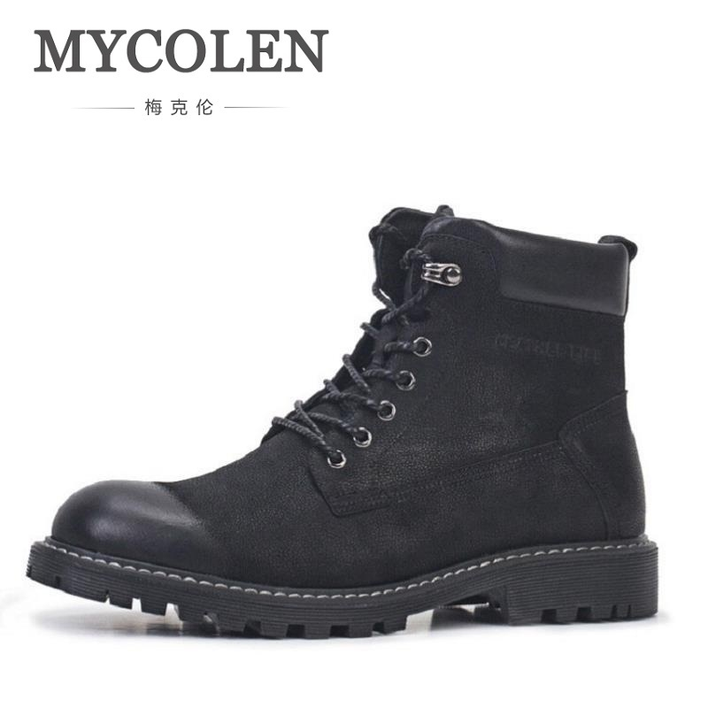 MYCOLEN Genuine Leather Men Boots New Arrivals High Quality Warm Men Winter Shoes High Quality Slip-Resistant Ankle Boots