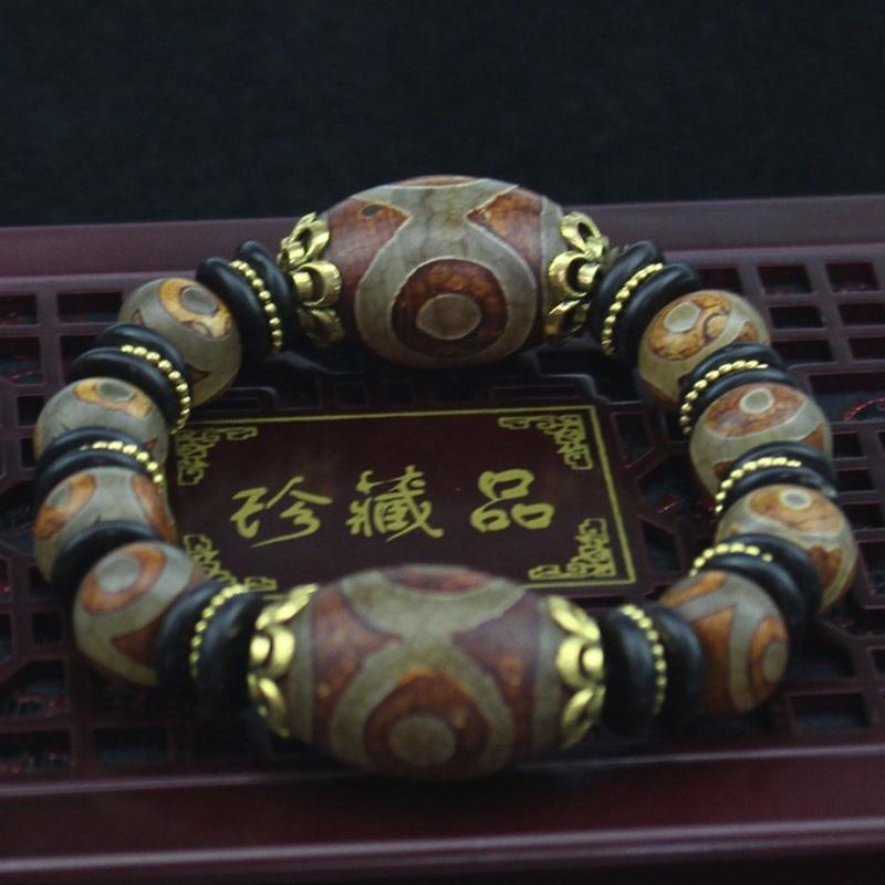 KYSZDL Natural Tibetan old stone dzi bead bracelet men stone bracelet jewelry gifts in Charm Bracelets from Jewelry Accessories