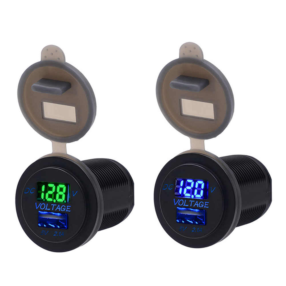 Vodool Universal Anti-Air 12/24 V Ganda USB Perahu Motor Mobil Telepon Pengisi Daya Mobil LCD Tampilan Voltmeter untuk iPhone samsung Xiomi