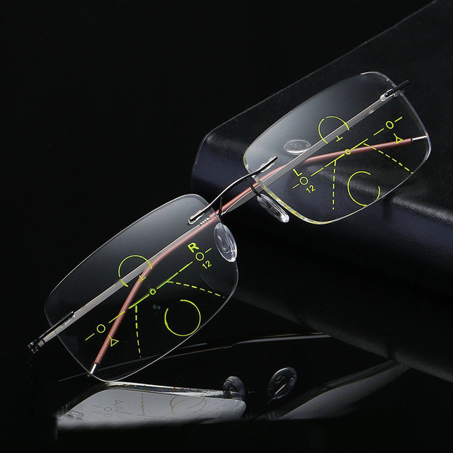 fa733cd2ca MINCL  Ultralight Rimless Eyewear Smart zoom Titanium Progressive Multifocal  Reading Glasses Men Women Presbyopia Hyperopia FML