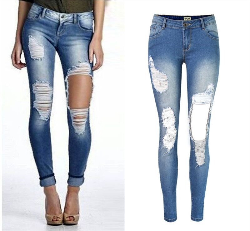 Plus Size Pencil Pants girl Hole jeans woman skinny ripped jeans for women vaqueros mujer boyfriend jean denim pants pantalon zbaiyh 2017 summer fashion high waist jeans women ripped jean retro boyfriend femme vaqueros mujer plus size jeans denim pants