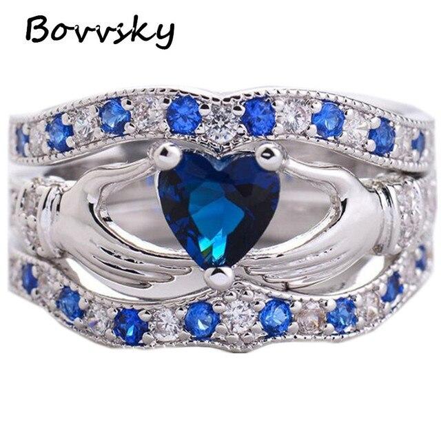 bovvsky wedding band love engagement rings blue heart women ring sets bohemian wedding rings for women - Bohemian Wedding Rings