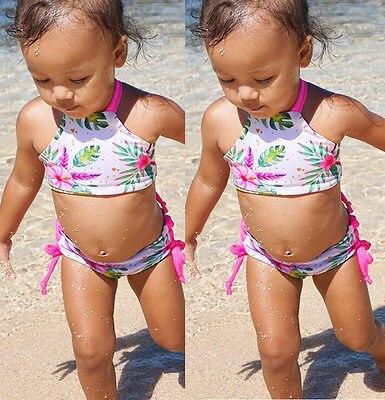 1-6 T Baby Kinder Mädchen Blume Floral Bedruckte Bikini Set Badeanzug Sommer Zwei Stücke Bademode Badende Kleidung