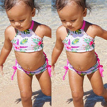 1-6T Baby Kids Girls Flower Floral Printed Bikini Set Swimsuit Summer Two-Pieces Swimwear Bather Clothes