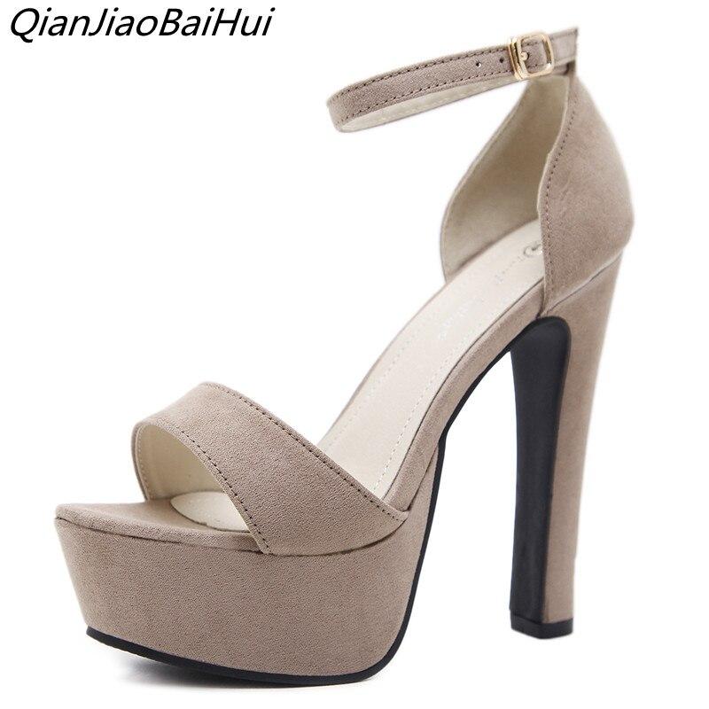 c9d435d60 QianJiaoBaiHui 2018 новые женские сандалии на платформе пикантные ...