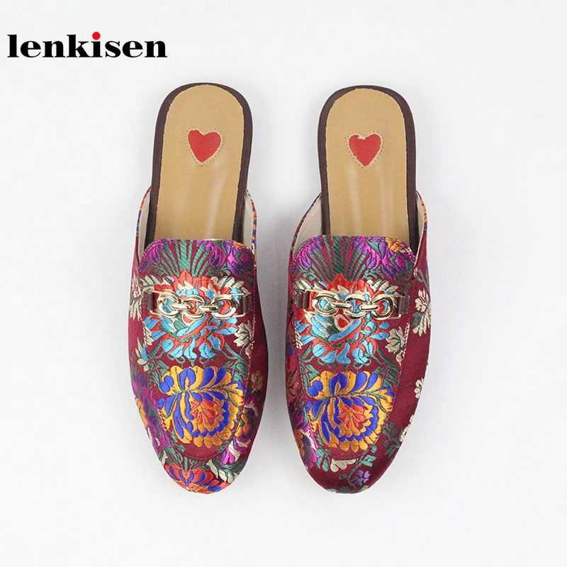Lenkisen/2019 г.; Шлепанцы из натуральной кожи без застежки; шлепанцы с вышивкой в восточном стиле; модная женская уличная обувь с металлическим украшением