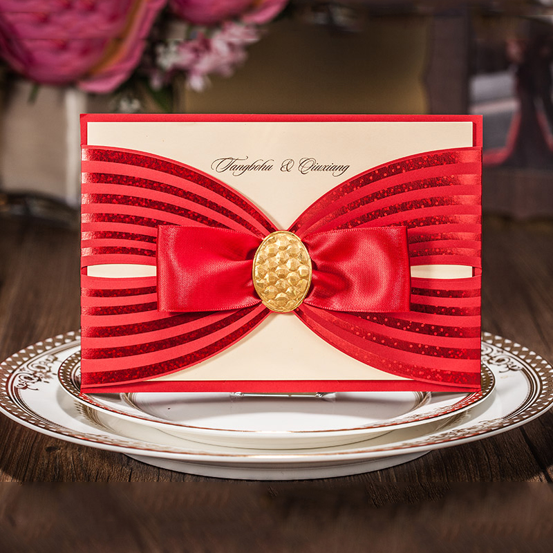 Pocket Girl Red Cartoon Big Bow Invitations For Wedding Party Birthday Blank Inside Card Kit Casamento Convite Free Print elegant flower lace lacut cut wedding invitations set blank ppaer printing invitation cards kit casamento convite pocket