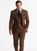 העיצובים האחרונים חום טוויד גברים חליפות חתונה לנשף רשמי חתן טוקסידו מותאם Masculi Terno מעיל + מכנסיים 3 Pieces + Vest X