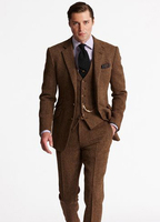 Latest Designs Brown Tweed Men Suits Wedding Suits Formal Groom Prom Tailored Tuxedo Terno Masculi 3 Pieces Jacket+Pants+Vest X