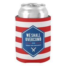 We Shall Overcme Trump for President Can Cooler Custom Red White Stripes Beverage Can Cooler Party