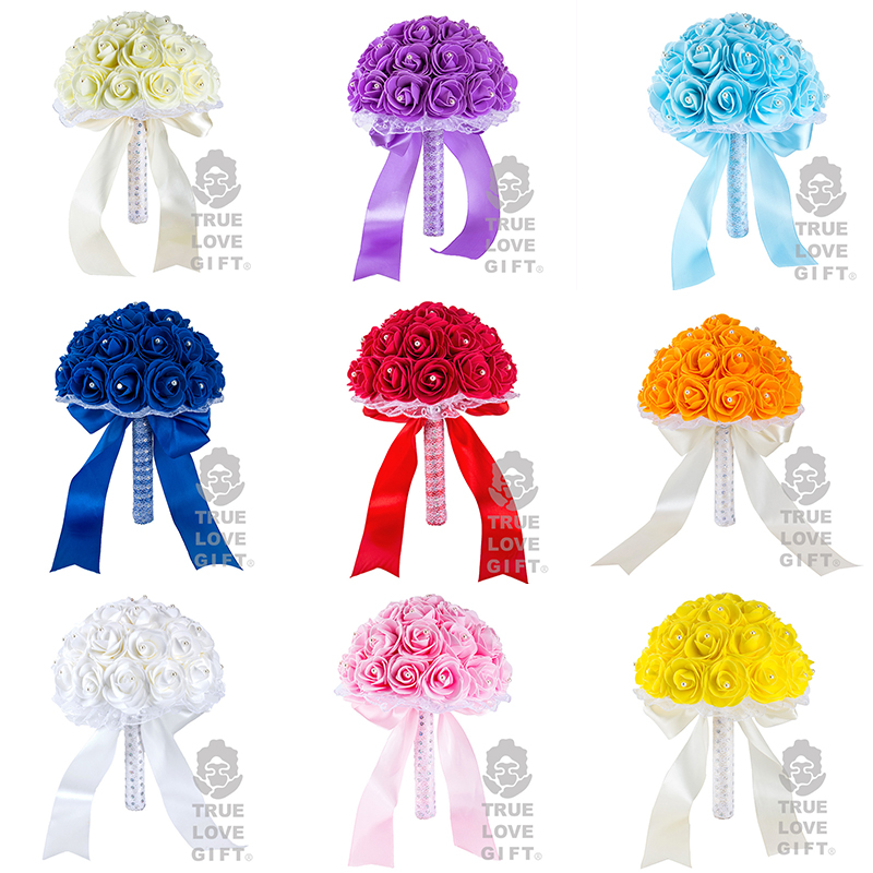 Many Colors Foam Flower Bridesmaid Bouquets Wedding Decoration Crystal Ribbon Romantic Wedding Flowers Bridal Bouquets Ramo Novi