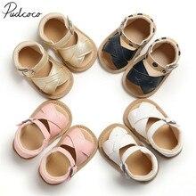 Детская летняя обувь сандалии для новорожденных девочек и мальчиков однотонная Нескользящая дышащая детская обувь из искусственной кожи от 0 до 18 месяцев