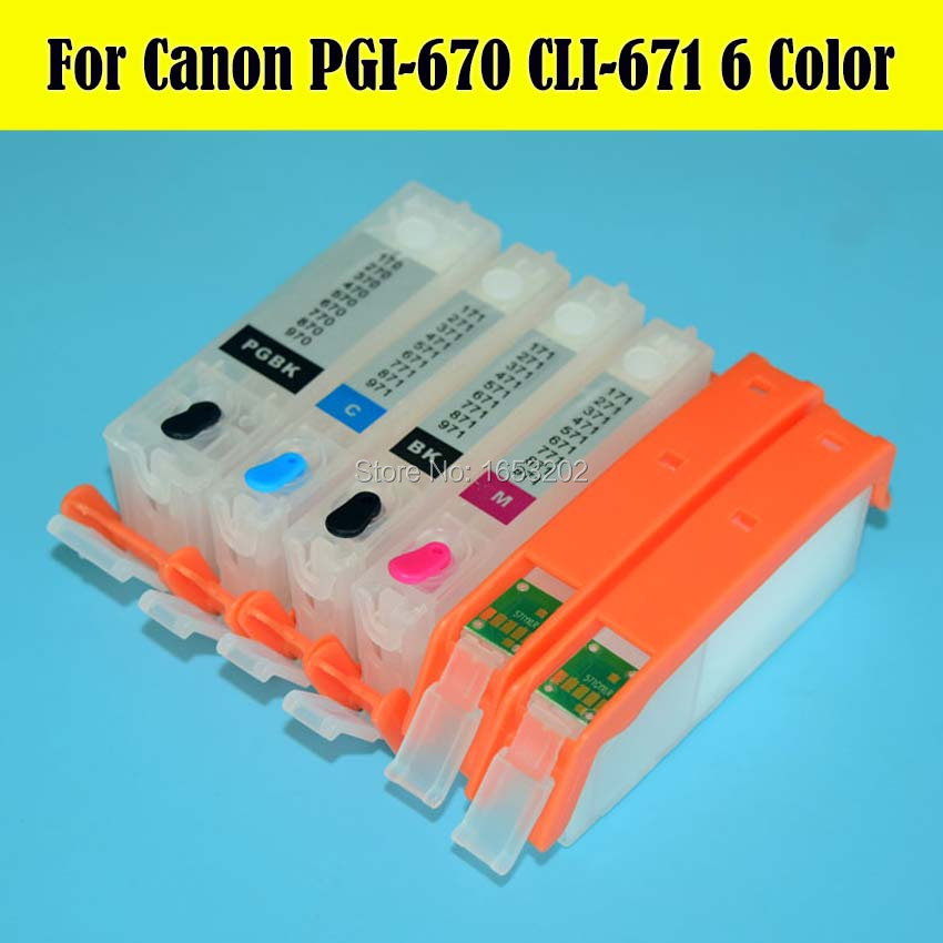 Best !!! 6 Color/Set 670 671 PGI-670 CLI-671 Ink Cartridge For Canon PIXMA MG7760 Printer Cartridge With ARC Chip refillable pgi425 cli425 with chip for canon pgi 425 cli 426 ink cartridge for canon pixma mg5140 mg5240 mg5340 ip4840 ip4940