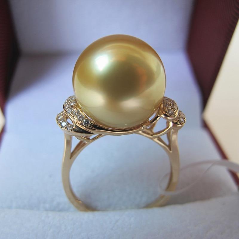 Mariage éternel femmes cadeau mot 925 en argent Sterling réel 13-14mm cadeau eau de mer perle anneau Jinzhu cadeau perles en cercle